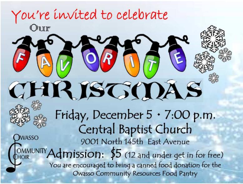 Owasso Community Choir S Christmas Concert December 5 At