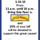 Monterey's Little Mexico Spirit Day Fundraiser for Northeast Elementary PTO January 15