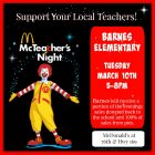 McTeacher Night for Barnes Elementary on March 10th