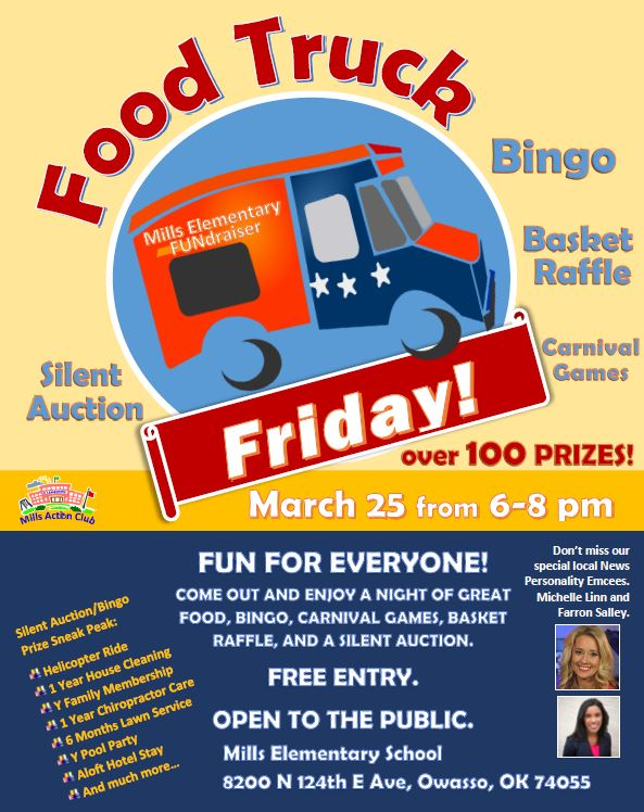 Food Truck Friday And Bingo Fundraiser At Mills Elementary