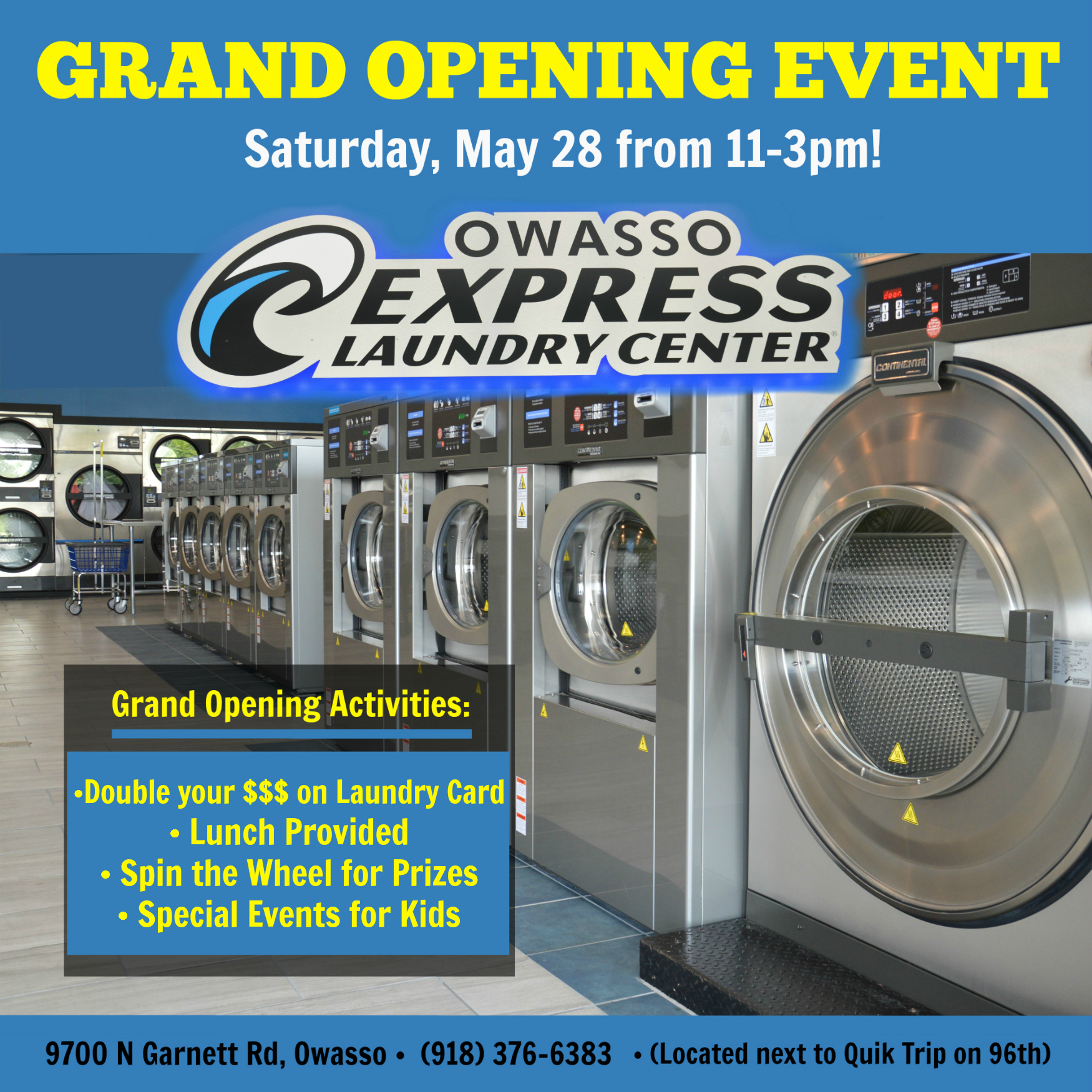 Owasso express laundry to host grand opening event may for Acapulco golden tans salon owasso ok