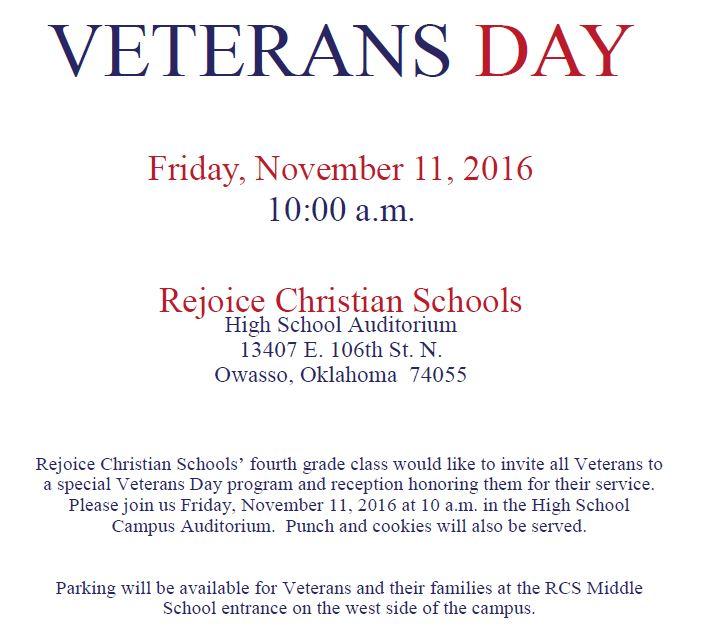 Veterans Invited To Rejoice S 4th Grade Veterans Day