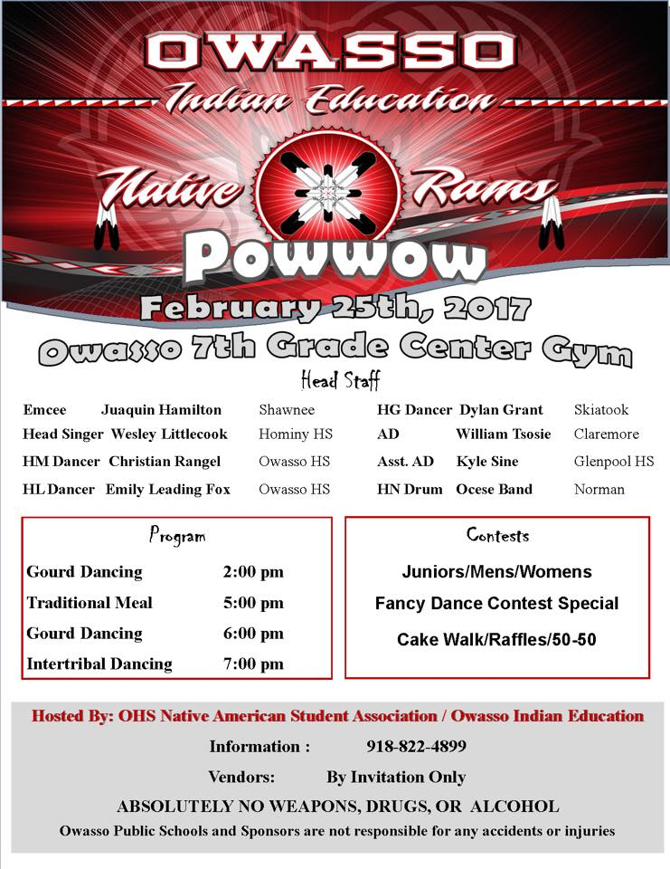 Powwow To Be Held At The Owasso 7th Grade Center End Of