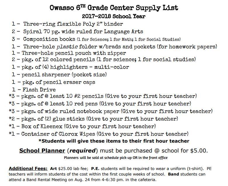 Sixth Grade Center Supply List and Meeting Dates - Owassoisms com