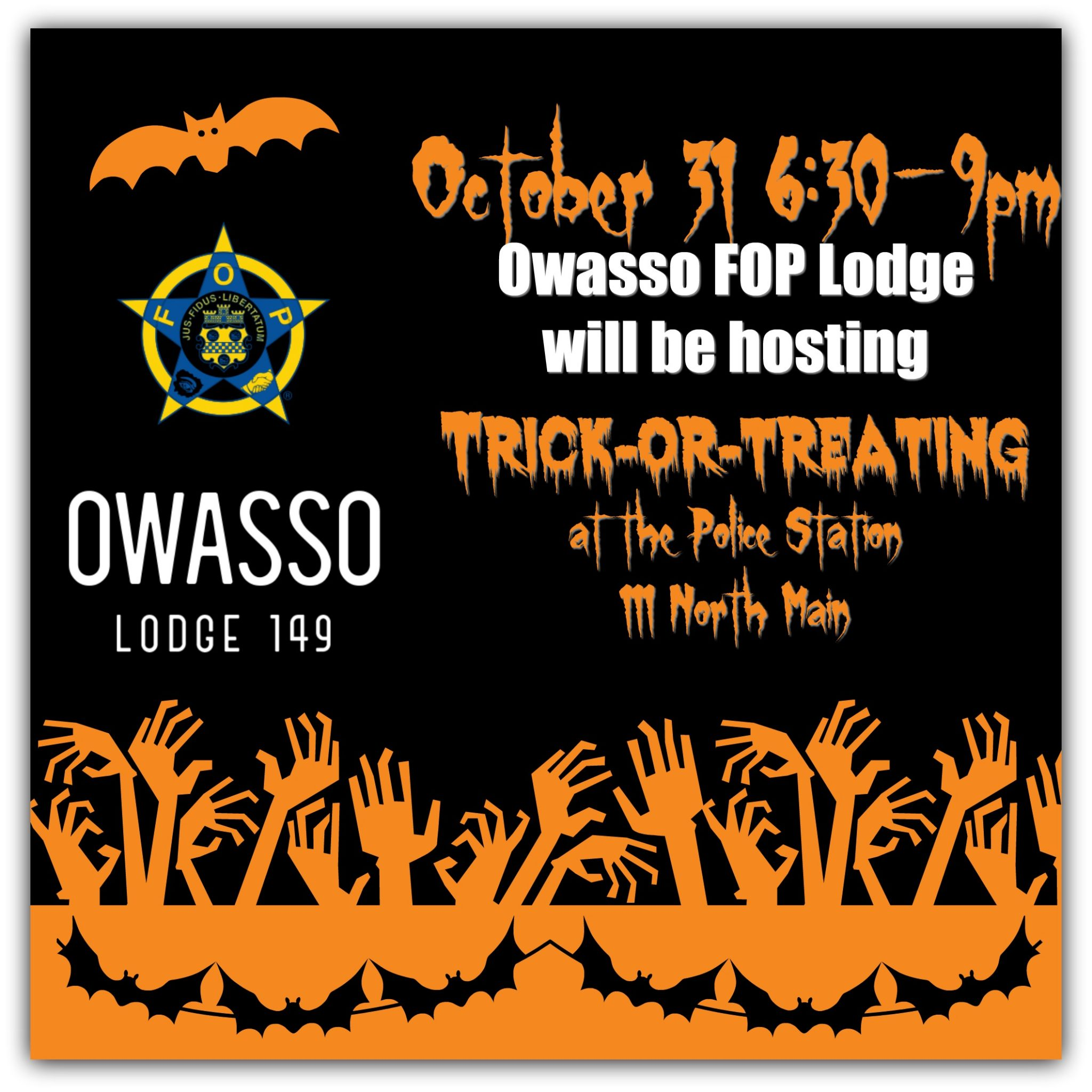Trick or treat tuesday at the owasso police department for Acapulco golden tans salon owasso ok