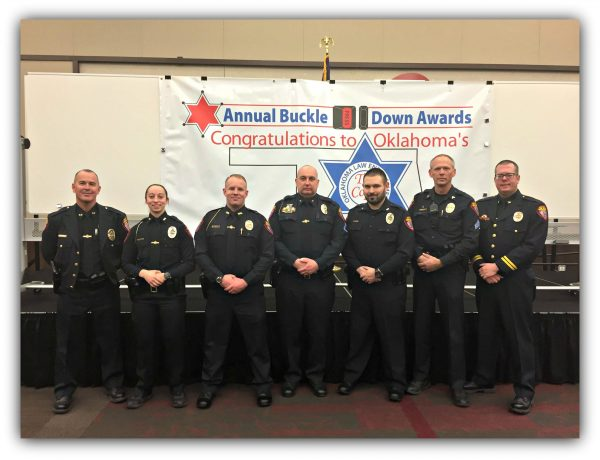 Pictured L-R - Chief Chambless, Officer Lehner, Officer Pappe, Officer Hibbert, Officer Trujillo, Sgt Barnes and Deputy Chief Woodruff - Not Pictured Officer Harmon)