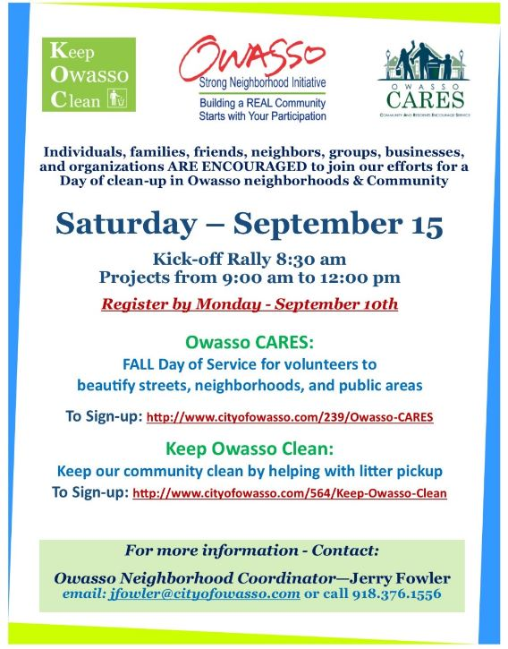 Day Of Clean Up Scheduled For September 15 Volunteers Needed