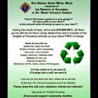 6th Annual Knights of Columbus Scrap Metal Drive in April