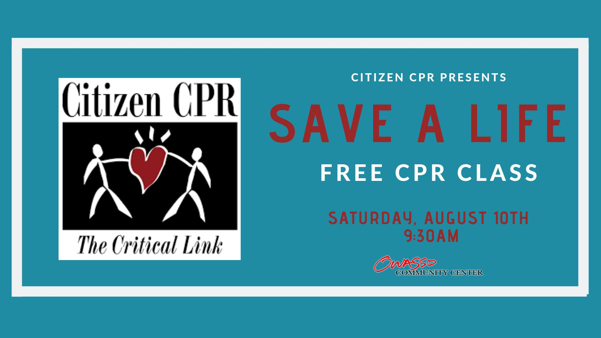 Free Citizen CPR Class August 10th