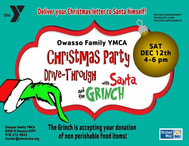 Owasso Family YMCA Hosting Santa and The Grinch Drive-Through