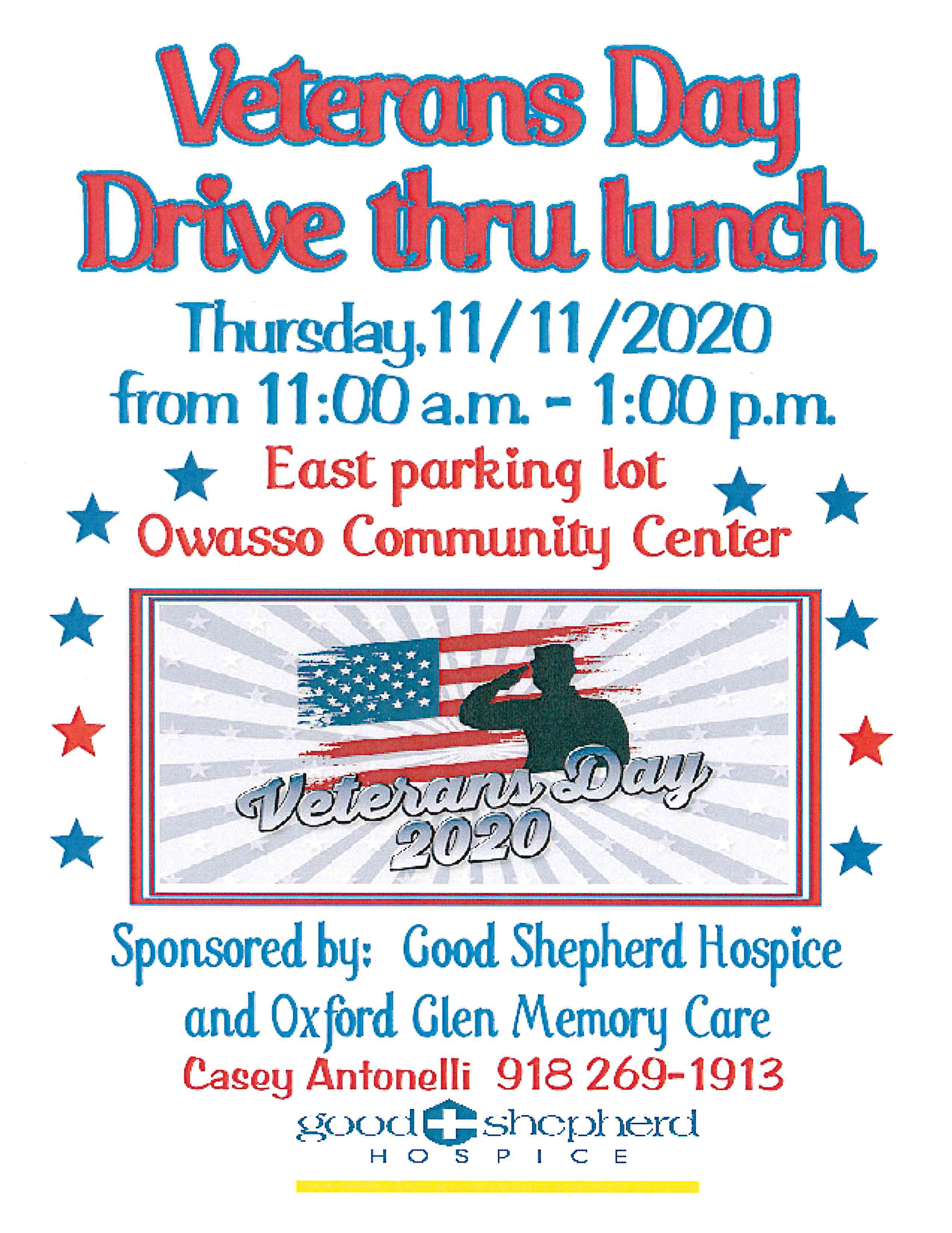 "Owasso ""Drive-Through"" Lunch for Veterans Planned on November 11th"