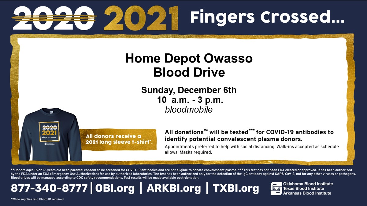 Blood Drive at The Home Depot Owasso Sunday, December 6th