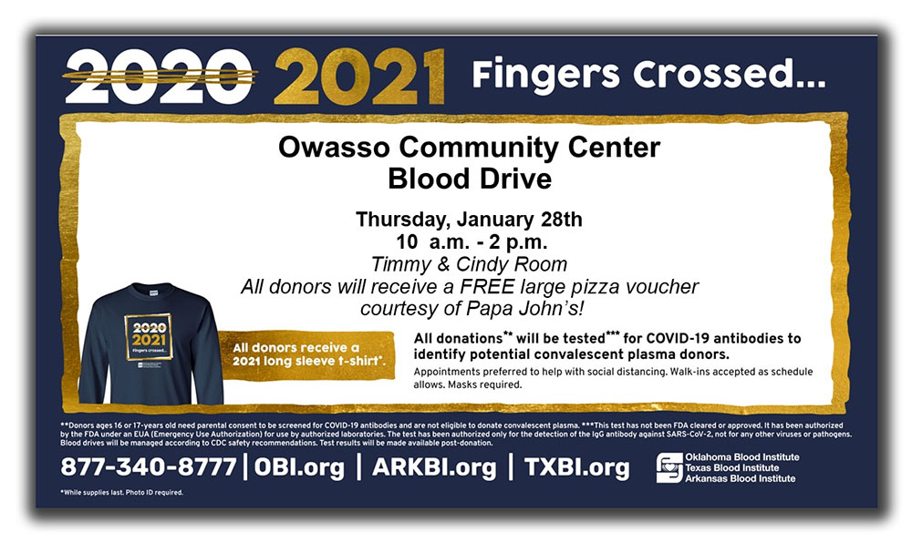 Owasso Community Center Blood Drive January 28th