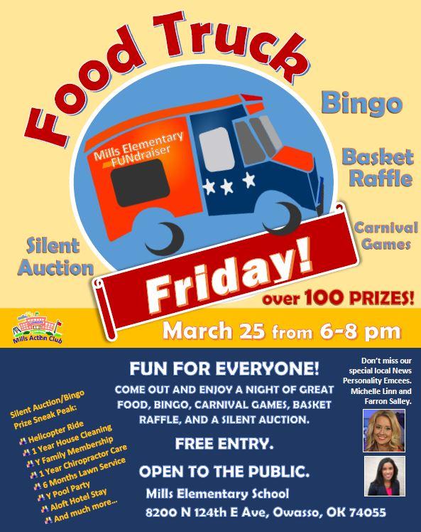 Mills UPDATED food truck bingo Fundraiser