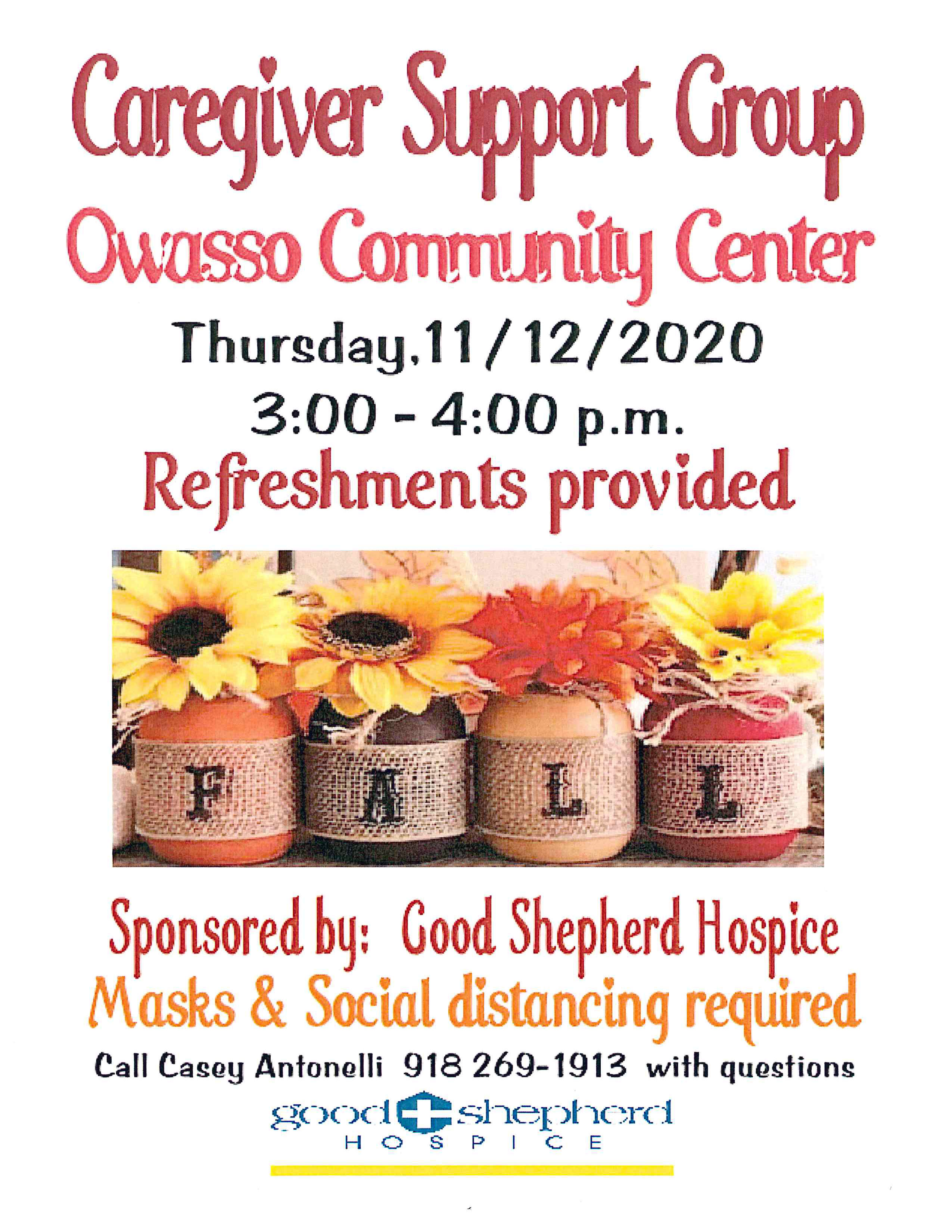 Caregiver Support Group Event Scheduled November 12th