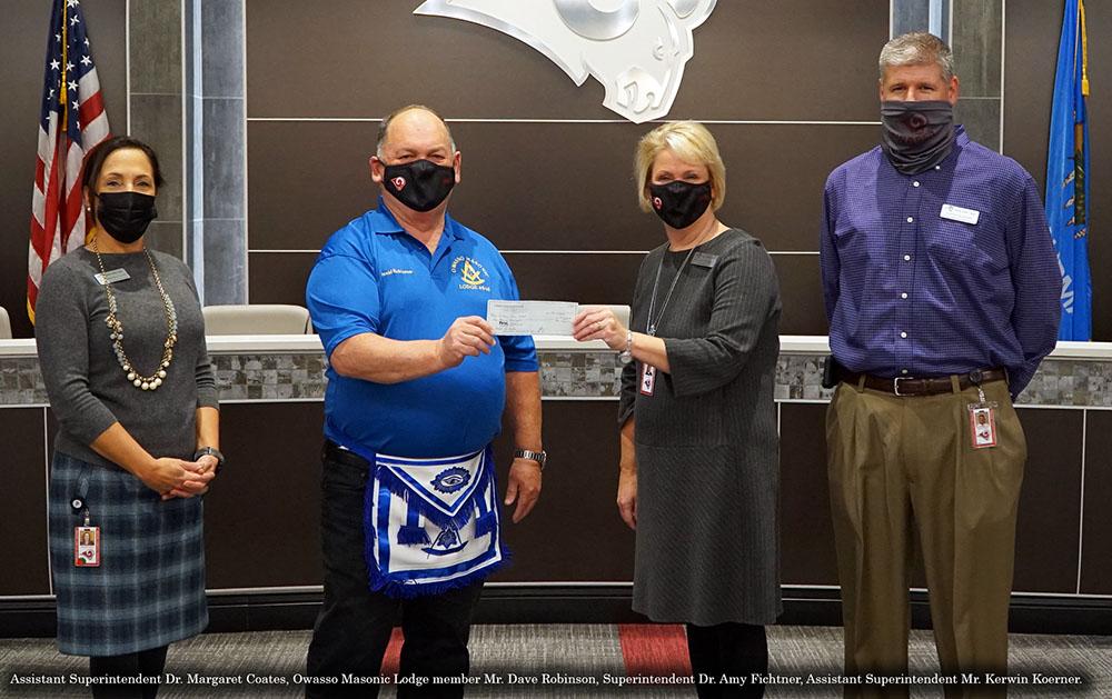 Owasso Masons Donate to Benefit OPS Teachers